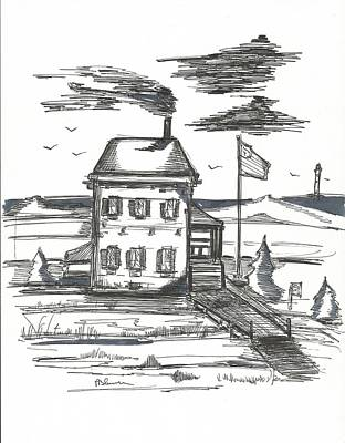 Beach Landscape Drawing - Admirals House by Philip Blanche
