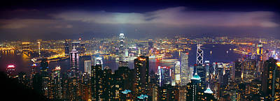 Hong Kong Photograph - Aerial View Of A City Lit Up At Night by Panoramic Images