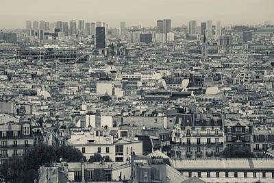Sacre Coeur Photograph - Aerial View Of A City Viewed by Panoramic Images