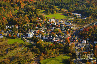 Photograph - Aerial View Of Rural Vermont Town. by Don Landwehrle