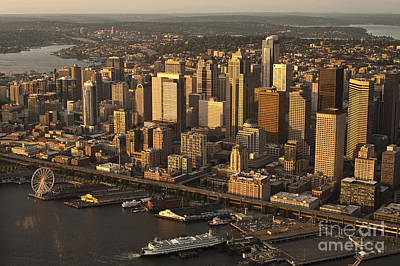 Photograph - Aerial View Of Seattle Skyline Along Waterfront by Jim Corwin