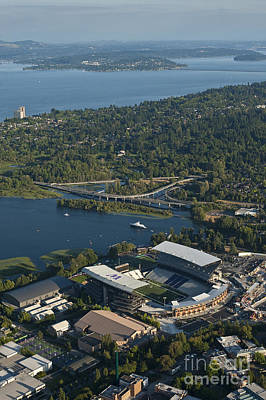 Photograph - Aerial View Of The New Husky Stadium by Jim Corwin