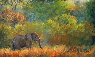 Forest Walk Painting - African Elephant by David Stribbling