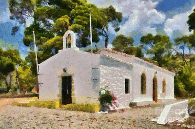 Trees Painting - Agia Paraskevi Chapel In Spetses Island by George Atsametakis