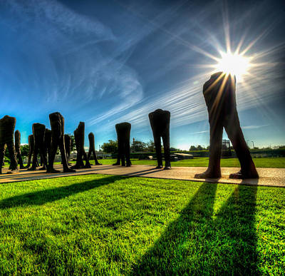 Photograph - Agora Sculpture In The Morning With Sunburst by Anthony Doudt