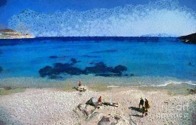 Painting - Agrari Beach In Mykonos Island by George Atsametakis