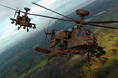 Photograph - 2 Ah64 Apache by Ken Brannen
