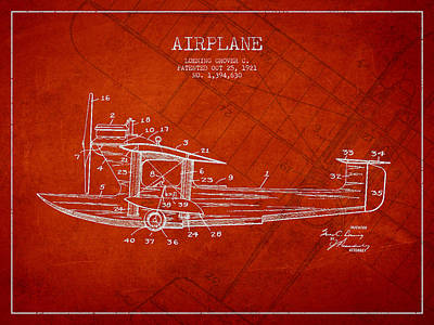 Icarus Drawing - Airplane Patent Drawing From 1921 by Aged Pixel