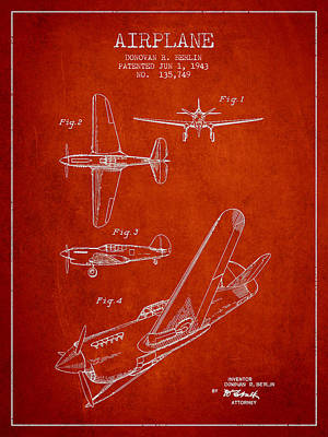 Airplane Patent Drawing From 1943 Art Print