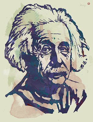 Albert Einstei - Pop Stylised Art Sketch Poster Art Print by Kim Wang