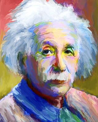 Spontaneous Mixed Media - Albert Einstein by Craig Gordon