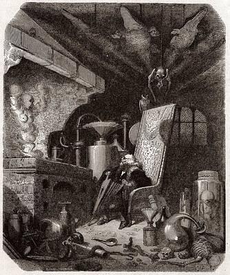 Alchemist At Work, 19th Century Art Print by Science Photo Library