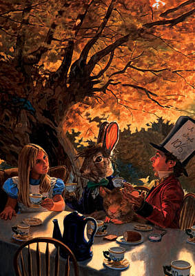 Tea Party Painting - Alice In Wonderland by Patrick Whelan
