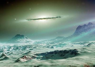 Planetary System Photograph - Alien Planet And Galaxy by Detlev Van Ravenswaay