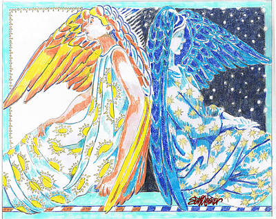 Night Angel Drawing - All Day All Night by Seth Weaver