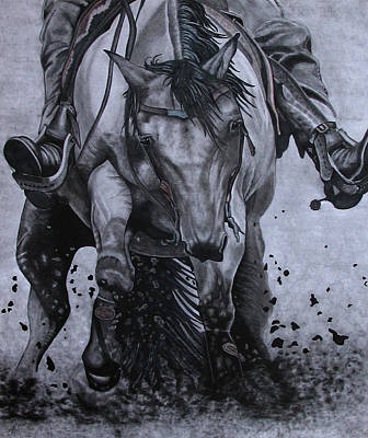 Charcoal Horse Drawing - All Heart by Jodi Dougherty