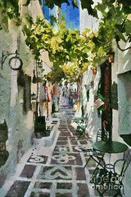 Painting - Alley In Ios Town by George Atsametakis