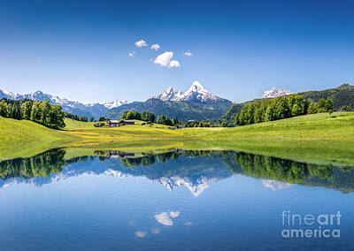 Mountain Reflection Lake Summit Mirror Photograph - Alpine Summer by JR Photography