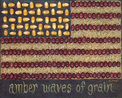 Waving Flag Mixed Media - Amber Waves Of Grain by Carol Neal