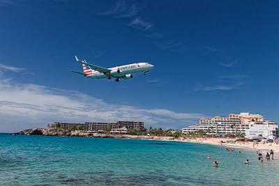 American Airlines At St Maarten Art Print by David Gleeson
