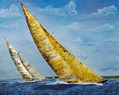Painting - Americas Cup Sailboat Race by Gregory Allen Page