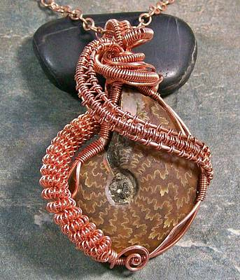 Heather Jordan Jewelry - Ammonite Fossil And Copper Wire-wrapped Pendant by Heather Jordan