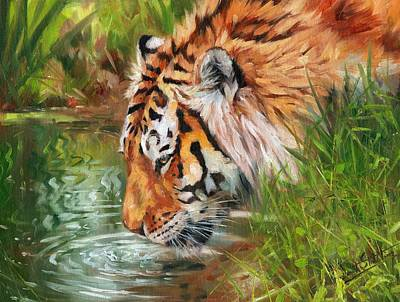 Ripple Painting - Amur Tiger by David Stribbling