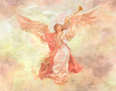 Saint Gabriel Painting - Angel Heralds The Dawn by John Alan Warford
