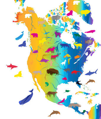 Shark Painting - Animal Map Of North America by Celestial Images