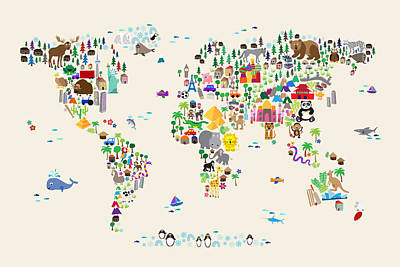 Cartoon Digital Art - Animal Map Of The World For Children And Kids by Michael Tompsett