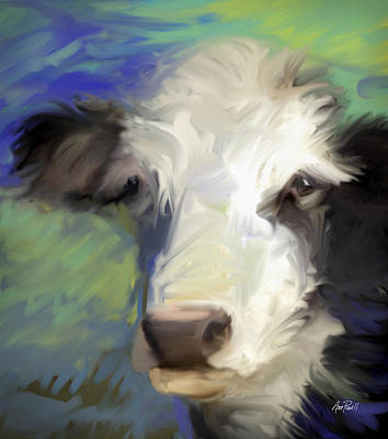 Painting - animals - cows -Black and White Cow by Ann Powell
