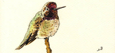 Hummingbird Wall Art - Painting - Anna S Hummingbird by Juan  Bosco