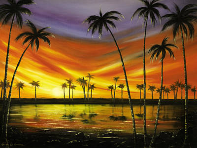 Another Sunset In Paradise Art Print by Gina De Gorna