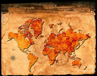 Antique Map Of The World Art Print by Lane Erickson