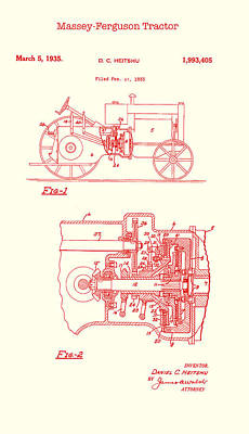 Drawing - Antique Massey-ferguson Tractor Patent 1935 by Mountain Dreams