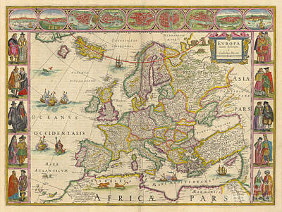 Maps Painting - Antiquie Map by Baltzgar