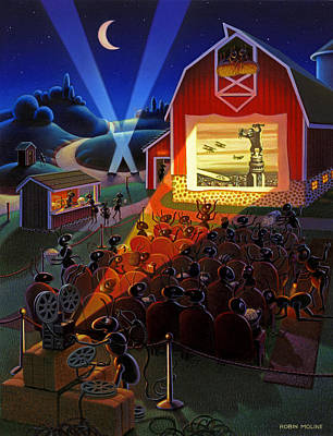 Farm Scene Painting - Ants At The Movies by Robin Moline