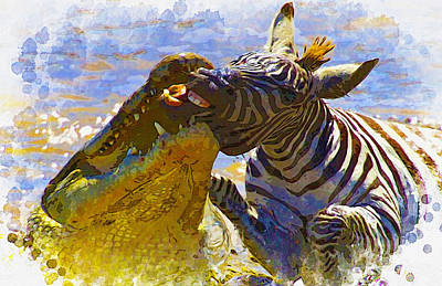 Nile Crocodiles Attack A Zebra Original by Don Kuing