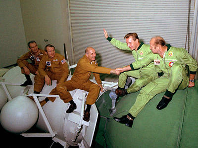 Collaboration Photograph - Apollo Soyuz Test Project Crew Training by Nasa