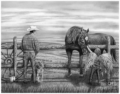 Charcoal Horse Drawing - Apparition Of Tatiana by Peter Piatt