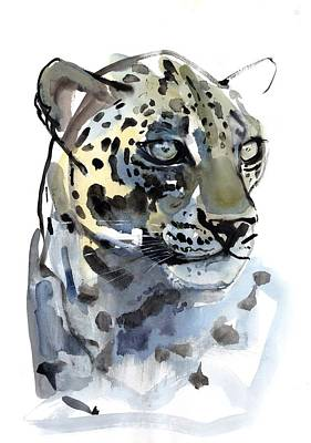 Watercolor On Paper Painting - Arabian Leopard by Mark Adlington