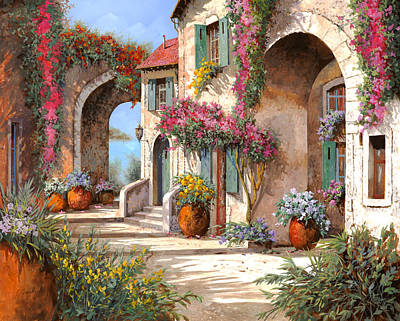 Village Scene Painting - Archi E Fiori by Guido Borelli