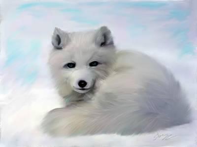 Arctic Dog Painting - Arctic Fox by Shere Crossman