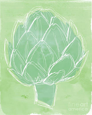 Vegetables Mixed Media - Artichoke by Linda Woods