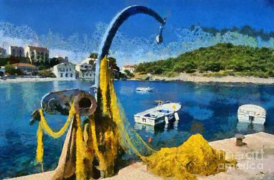 Painting - Asos Village In Kefallonia Island by George Atsametakis