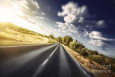 Asphalt Road In Field Against Moody Print by Evgeny Kuklev