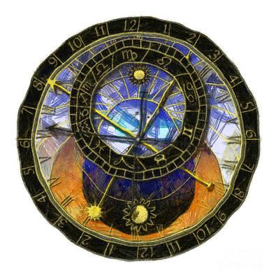 Recondite Digital Art - Astronomical Clock by Michal Boubin