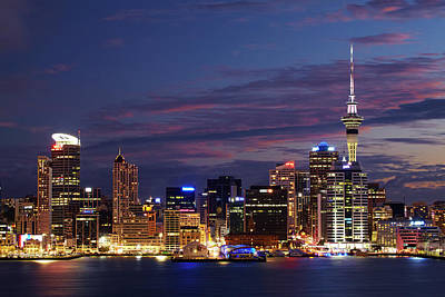 Auckland Cbd, Skytower, And Waitemata Art Print