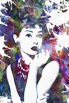Female Painting - Audrey Hepburn by Celestial Images
