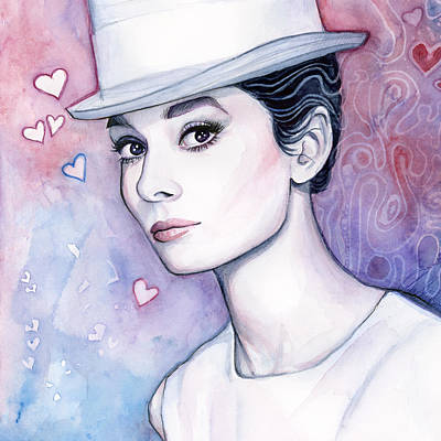 Actors Painting - Audrey Hepburn Fashion Watercolor by Olga Shvartsur